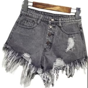 Womens Denim Frayed Jean Shorts